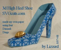 3d High Heel Shoe, cut from paper using cutting file supplied by #svgcuts