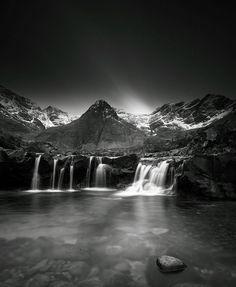 Stunning black & white of the Fairy Pools, Skye Tartan, Plaid, Fairy Pools, Photographs, Photos, Love Photography, Waterfalls, Enchanted, Touring