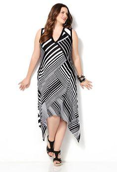 Pink Border Print Hi Lo Dress Plus Size Dress Avenue