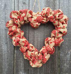 Valentine's day wreath burlap wreath heart wreath valentine wreath decor decoration wedding decor heart wreath by DecorPlace on Etsy https://www.etsy.com/listing/174242712/valentines-day-wreath-burlap-wreath