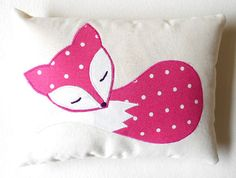 Fox Mini Pillow Handmade Fox Decor Cushion by HandmadeByEvaRose, £8.00