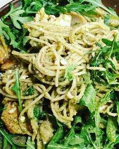 I love basil pesto but wanted a version without the cheese. Found a vegan recipe online and was pleasantly surprised at results. Pretty delicious. Might need to make some minor adjustments the next time around. Proof was when hubby polished off 1/3rd eating it with no accompaniments. I used it with angel hair pasta and put a load of fresh aragula leaves. Yumminess!  #cookingadventures #basilpesto #basilpestopasta  #onmyplate #veganpesto