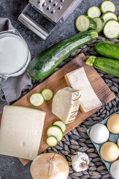 ingredients for make baked zucchini casserole Best Vegetable Recipes, Herb Recipes, Great Recipes, Cooking Recipes, Healthy Recipes, Diabetic Recipes, Healthy Foods, Zucchini Casserole, Vegetable Casserole