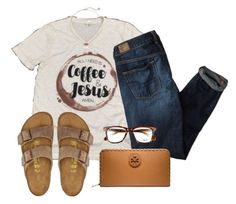"""""""Happy Sunday!☀️"""" by abbybp42 ❤ liked on Polyvore featuring American Eagle Outfitters, Kendra Scott, Birkenstock, Tory Burch and Ray-Ban"""