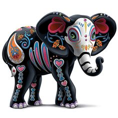 The Hamilton Collection Blake Jensen Celebration of Luck Sugar Skull Elephant Figurine with Faux Gems Elephant Parade, Elephant Love, Elephant Art, Asian Elephant, Sugar Skull Artwork, Sugar Skulls, Candy Skulls, Sugar Skull Painting, Sugar Skull Decor