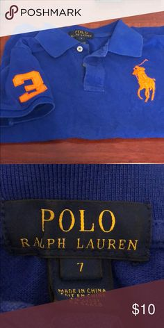 Polo shirt Royal blue with orange horse on chest and 3 on right sleeve.  Good condition. Polo by Ralph Lauren Shirts & Tops Polos