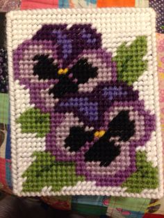 Plastic Canvas  Tissue Box Cover  Purple Pansy  I made
