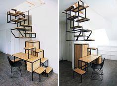 Inovadora escada suspensa também serve como estação de trabalho