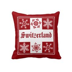 Switzerland Winter Wonderland Pillow for Ski Chalet