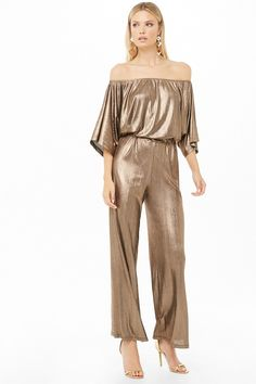 Forever 21 has the most coveted designs in Rompers + Jumpsuits! Shop the best one-piece rompers in cami and off-the-shoulder styles, try a culotte jumpsuit, or strap on a pair of denim overalls! Gold Jumpsuit, Jumpsuit With Sleeves, Jumpsuit Outfit, Pants Outfit, Metallic Jumpsuits, Latex Dress, Fashion Catalogue, Holiday Fashion, Wedding Suits