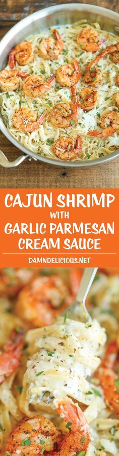 Shrimp with Garlic Parmesan Cream Sauce - The easiest weeknight meal with a homemade cream sauce that is out of this world!Cajun Shrimp with Garlic Parmesan Cream Sauce - The easiest weeknight meal with a homemade cream sauce that is out of this world! Cajun Recipes, Fish Recipes, Seafood Recipes, Cooking Recipes, Healthy Recipes, Seafood Meals, Drink Recipes, Seafood Pasta, Recipies