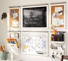 Daily System - White | Pottery Barn $59 each separates - letter bin & pin board + hanging rods $12
