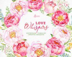 El amor susurra: 24 acuarela elementos florales por OctopusArtis