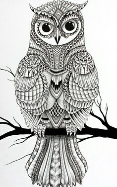 Owl Coloring Pages Mandala Adult Books Halloween Zentangle Embroidery Forearm Tattoos Doodle