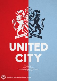 Match poster. Manchester United vs Manchester City, 25 March 2014. Designed by @Manchester United.