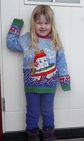Ravelry: nr 216 Elias - den lille redningsskøyta pattern by Kari Haugen Den, Ravelry, Christmas Sweaters, Graphic Sweatshirt, Knitting, Sweatshirts, Blog, Fair Isles, Fashion