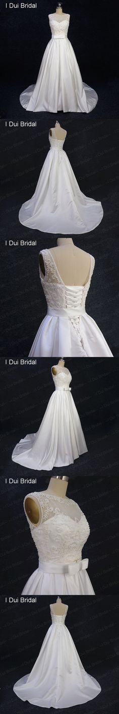 A Line Satin Pearl Beaded Wedding Dress with Bow Tie Belt and Pocket Pleated Belt Illusion Tulle Lace Neck Real Photo Elliot