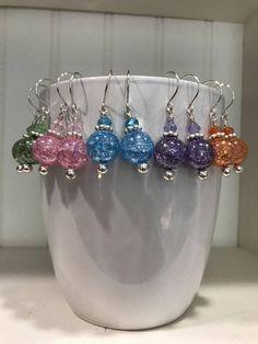 Crackle bead earrings