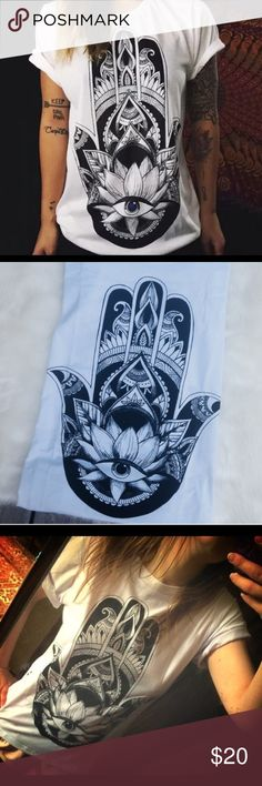 Hamsa T Shirt This high quality cotton/polyester blend t shirt is stylish and comfy. Runs slightly small. Ships same day if ordered by 11:00 CST. Bundle for additional savings. Tops Tees - Short Sleeve