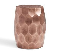 Vince Metal-Clad Accent Stool-This copper finish stool/accent table has dimension and shine that may patina over time from New Classic Furniture, New Furniture, Coffee Table Pottery Barn, Coffee Tables, Hexagon Coffee Table, Small End Tables, Side Tables, Cool Bar Stools, Metal Stool