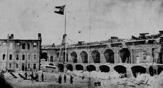 """""""Confederate flag flying over Fort Sumter in Charleston South Carolina Harbor - April 1861"""" -- Click through for a remarkable collection of """"Real Photographs of Charleston SC Forts, Cannons and Ruins"""" from the Civil War years. Find more here: http://www.civil-war.net/searchphotos.asp?searchphotos=Charleston,%20SC"""