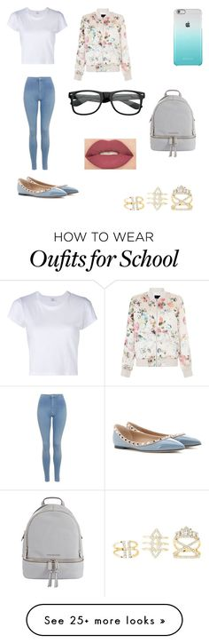 """""""School outfit"""" by junebug02 on Polyvore featuring RE/DONE, Topshop, MICHAEL Michael Kors, Valentino, New Look, Charlotte Russe and Smashbox"""