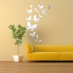 14PCS borboleta adesivos de parede espelho espelhar arte casa decalque decoração de interiores