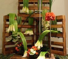 Questi pallet sono stati usati per comporre degli addobbi floreali per una ricorrenza festiva.