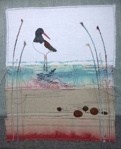 Oyster catcher, Free motion embroidery, I teach workshops