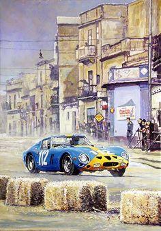 Motor Racing Art - 1964 Targa Florio Ferrari 250 GTO Norinder/ Troberg, 8th place, oil on canvas, 70x100cm, 2017, www.shevchukart.com