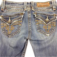 Pre-owned Rock Revival Boot Cut Jeans ($110) ❤ liked on Polyvore featuring jeans, denim, rock revival bootcut jeans, denim jeans, rock revival, boot cut jeans and bootcut denim jeans