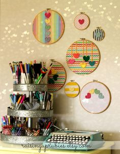 bright rainbow stripe vintage embroidery hoop art - with crocheted hearts. Embroidery Hoop Crafts, Vintage Embroidery, Embroidery Art, Embroidery Stitches, Embroidery Patterns, Embroidery Monogram, Sewing Crafts, Sewing Projects, Organizer