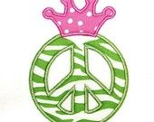 Machine Embroidery Design Applique Peace with Crown