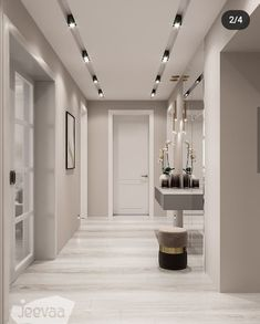 La imagen puede contener: mesa e interior House Ceiling Design, Ceiling Design Living Room, Bedroom False Ceiling Design, Home Room Design, Home Interior Design, Living Room Designs, Home Entrance Decor, House Entrance, Cozy Apartment Decor