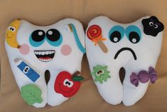 Diy Crafts Hacks, Diy And Crafts, Crafts For Kids, Tooth Pillow, Tooth Fairy Pillow, Felt Crafts, Fabric Crafts, Cute Tooth, Dental Kids