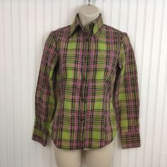 ETRO Womens Pink Green Plaid Button Up Career Shirt Long Sleeve Size 38(US 2)  | eBay