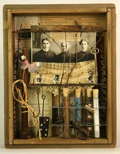 Like the old fish hooks ⌼ Artistic Assemblages ⌼ Mixed Media & Collage Art - Kindred Chemistry - assemblage by Rod Lathim Shadow Box Kunst, Shadow Box Art, Found Object Art, Found Art, Collages, Art Postal, Collage Art Mixed Media, Bizarre, Assemblage Art