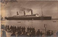 Hamburg Amerika Line VATERLAND leaves the shipyard, spring 1914