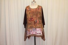Chocolate lover top Upcycled tunic Plus size clothing Summer blouse bohemian top Pixie boho Altered clothes Brown Printed t shirt 3X-4X