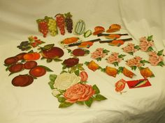VINTAGE PRINT CUTOUTS-ROSES; FRUITS; CAN LABELS! 25+CUTOUTS! VTG.-1900'S! AS IS! #VARIOUS
