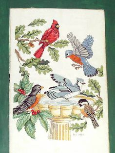 Bird Bath Cross Stitch Photo