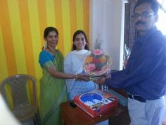 Mr Ajit Takle wishing Dr Saili Patne on thr occassion of the opening ceremony of her Ayurvedic clinic at Khed,Ratnagiri