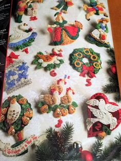 Bucilla Felt 12 Days of Christmas Partridge in a Pear Tree Jeweled Holiday Ornament Kit Christmas Craft diy Ornies 2008 Felt Ornaments, How To Make Ornaments, Holiday Ornaments, Christmas Crafts, Christmas Decorations, Christmas Ideas, Stocking Tree, Twelve Days Of Christmas, Partridge
