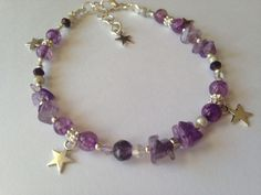 Reiki and angel healing anklet with stars and gemstones  for a customer