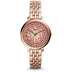 Fossil Jacqueline Rose-Gold Stainless Steel Watch ($175) ❤ liked on Polyvore featuring jewelry, watches, stainless steel watches, colorful jewelry, fossil watches, colorful watches and tri color jewelry