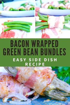 Easy bacon wrapped green bean bundles with a mustard vinaigrette. The perfect side dish to add to you family dinner or holiday gathering. Quick and delicious fresh green beans are roasted and ready to serve in 30 minutes! #GreenBeans #SideDish #Thanksgiving #FreakyFridayRecipes #EasyRecipe #KetoRecipe #LowCarbDiet #HolidayRecipe