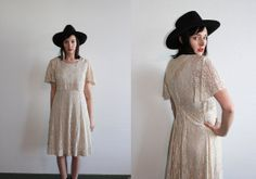 juz listed :::: vintage 90's SUMMER SLINKY cream lace dress by foxandfawns on Etsy, $45.00
