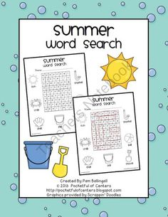 Summer Word Search FREEBIE from Pocketful of Centers on TeachersNotebook.com -  (4 pages)