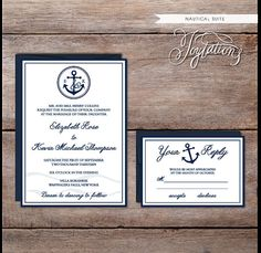www.etsy.com/shop/joytations NAUTICAL Wedding Invitation Suite by Joytations on Etsy