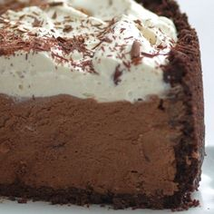 Dish Chocolate Cream Pie With a crispy crust and mocha mousse, this pie is a chocolate dessert lover's dream.With a crispy crust and mocha mousse, this pie is a chocolate dessert lover's dream. No Bake Desserts, Easy Desserts, Delicious Desserts, Yummy Food, Yummy Mummy, Yummy Eats, Yummy Appetizers, Yummy Snacks, Baking Desserts